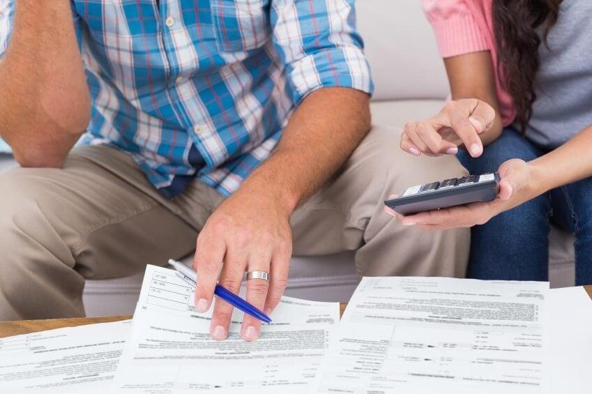 A couple calculating finances