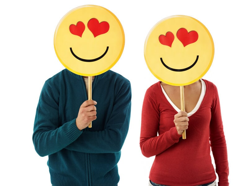 couple with emoticon