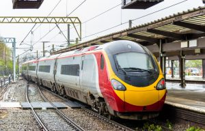 British high-speed train at Preston station